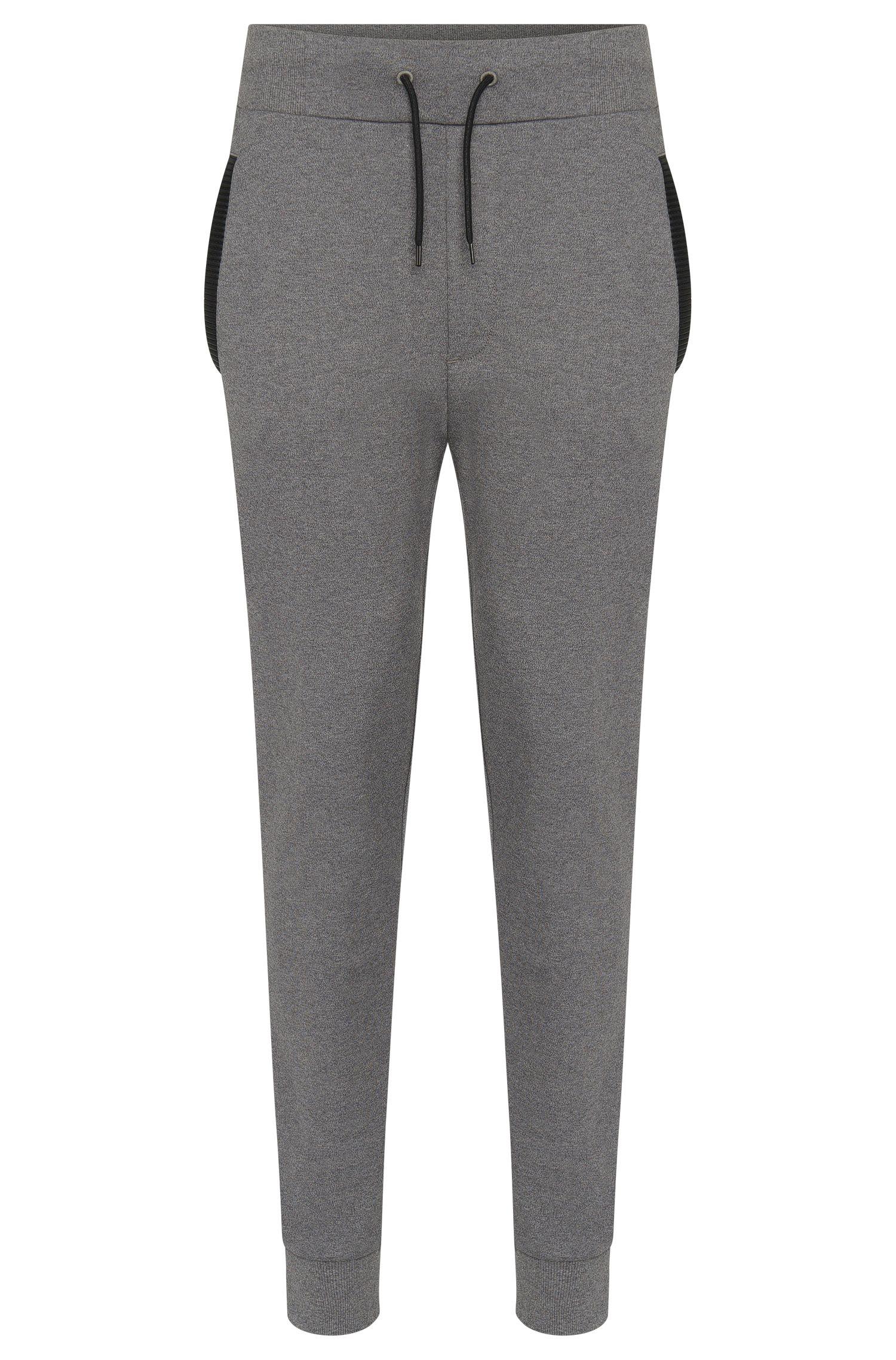 Pantalón de chándal regular fit en algodón con detalles en imitación piel: 'Drontier'
