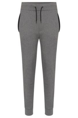 Pantalón de chándal regular fit en algodón con detalles en imitación piel: 'Drontier', Gris claro