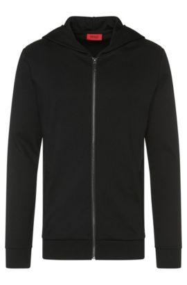 Sweatshirt-Jacke aus Baumwolle mit Details in Leder-Optik: 'Dellagio', Schwarz