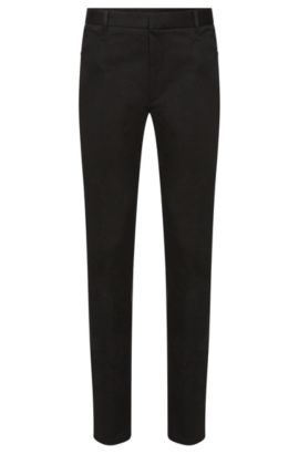 Extra slim-fit trousers in stretch cotton: 'Henyo', Black