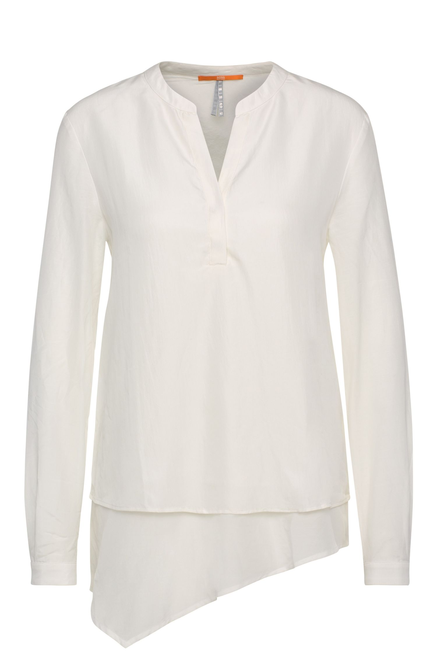 Tunic blouse in pure silk in a layered look: 'Ciroof1'
