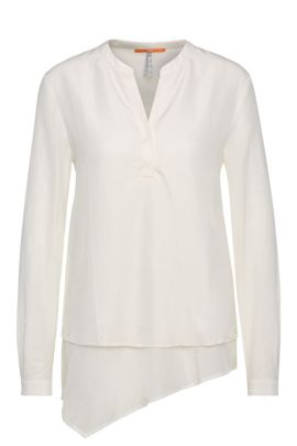 Tunic blouse in pure silk in a layered look: 'Ciroof1', Natural