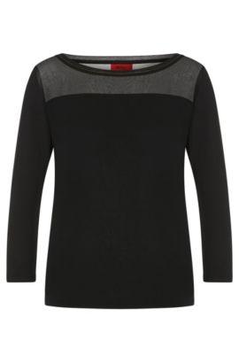 Shirt in stretch viscose with fine beaded trim: 'Difesta', Black