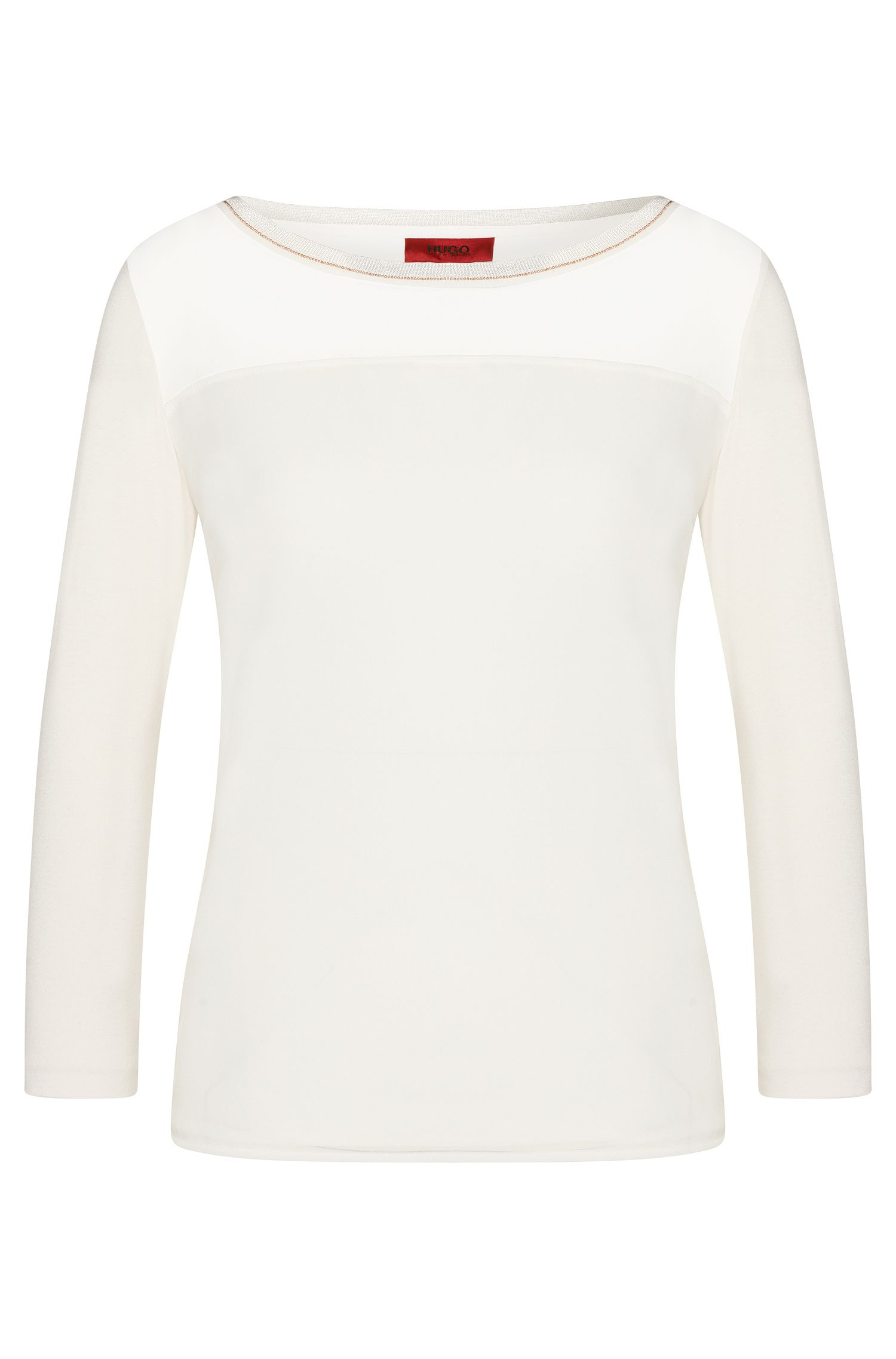 T-shirt en viscose extensible à empiècement fin orné de perles: «Difesta»