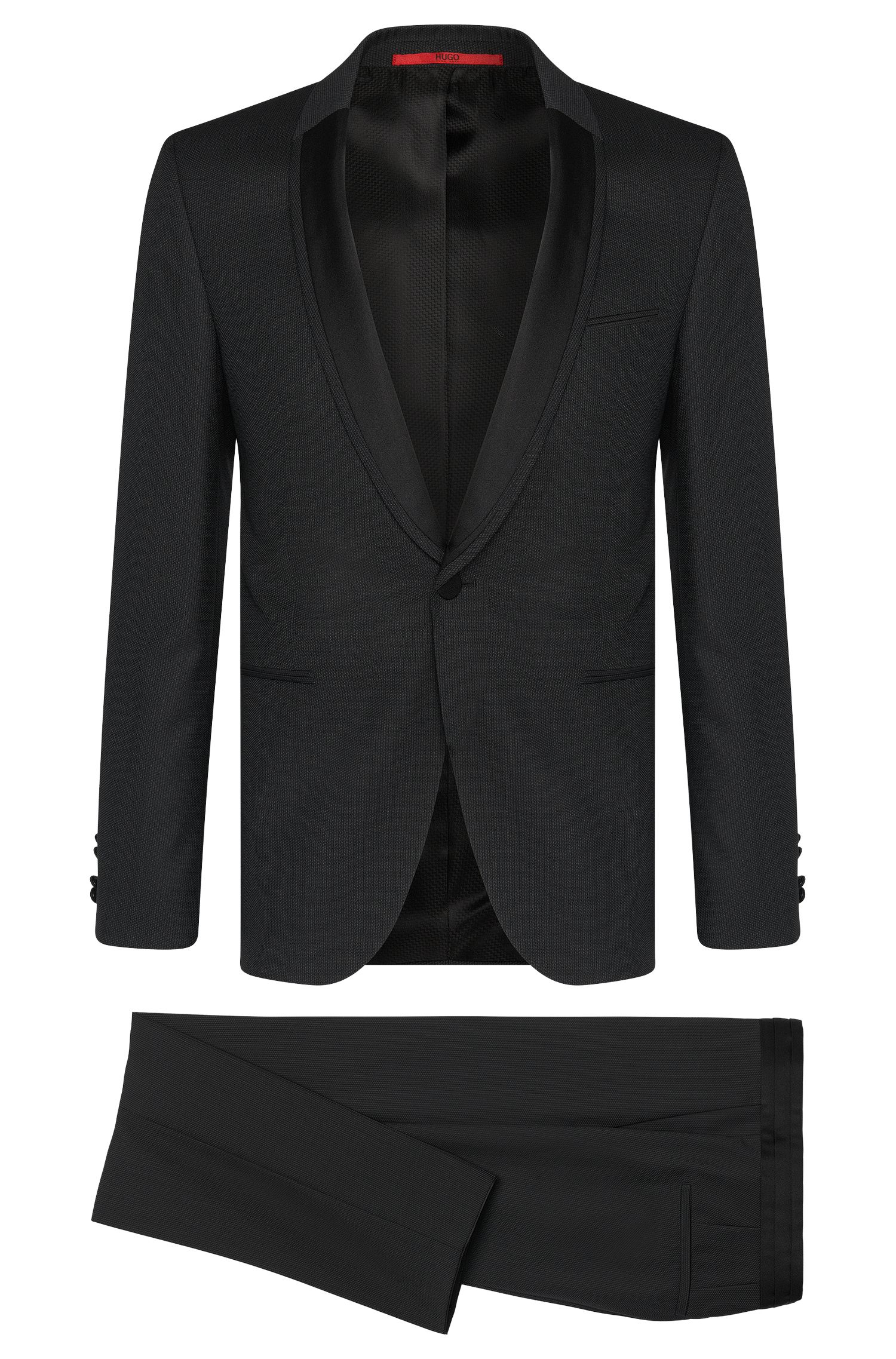 Patterned extra slim-fit dinner suit in new wool: 'Anros/Himans'