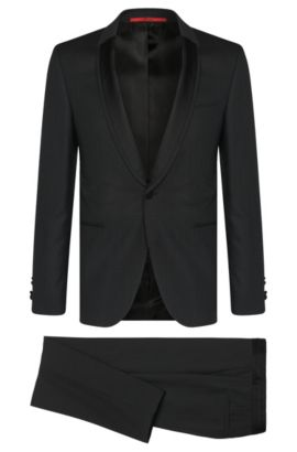 Patterned extra slim-fit dinner suit in new wool: 'Anros/Himans', Black