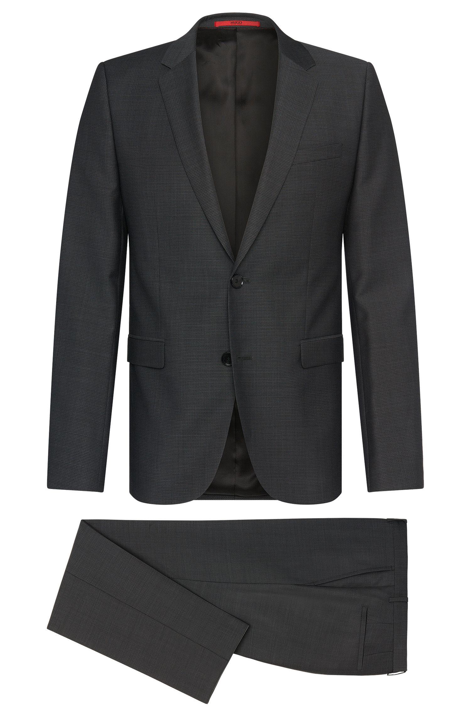 Costume Slim Fit en laine vierge finement structurée: «Astian/Hets»