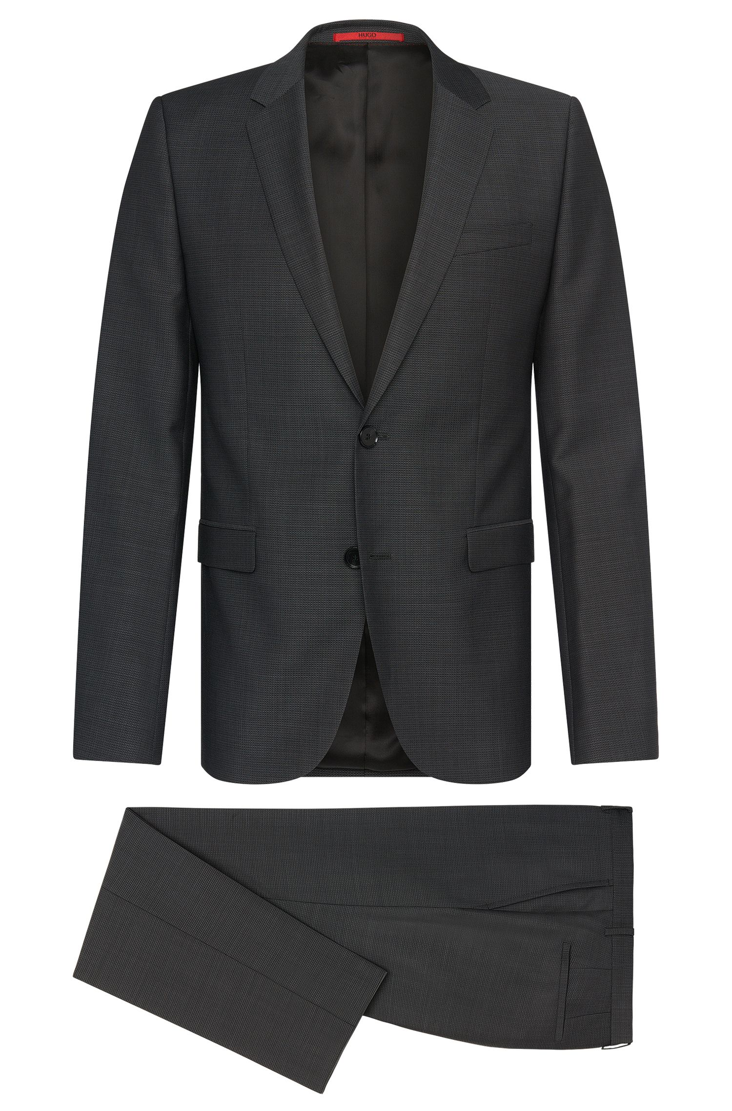 Traje slim fit en lana virgen con textura fina: 'Astian/Hets'