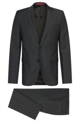 Traje slim fit en lana virgen con textura fina: 'Astian/Hets', Gris marengo