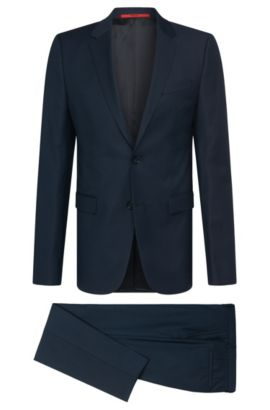Finely textured slim-fit suit in new wool: 'Astian/Hets', Dark Blue