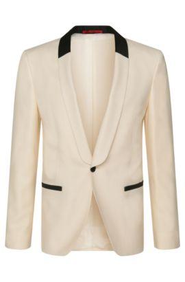 Veste de smoking Slim Fit en laine vierge mélangée à de la soie: «Arian», Beige clair
