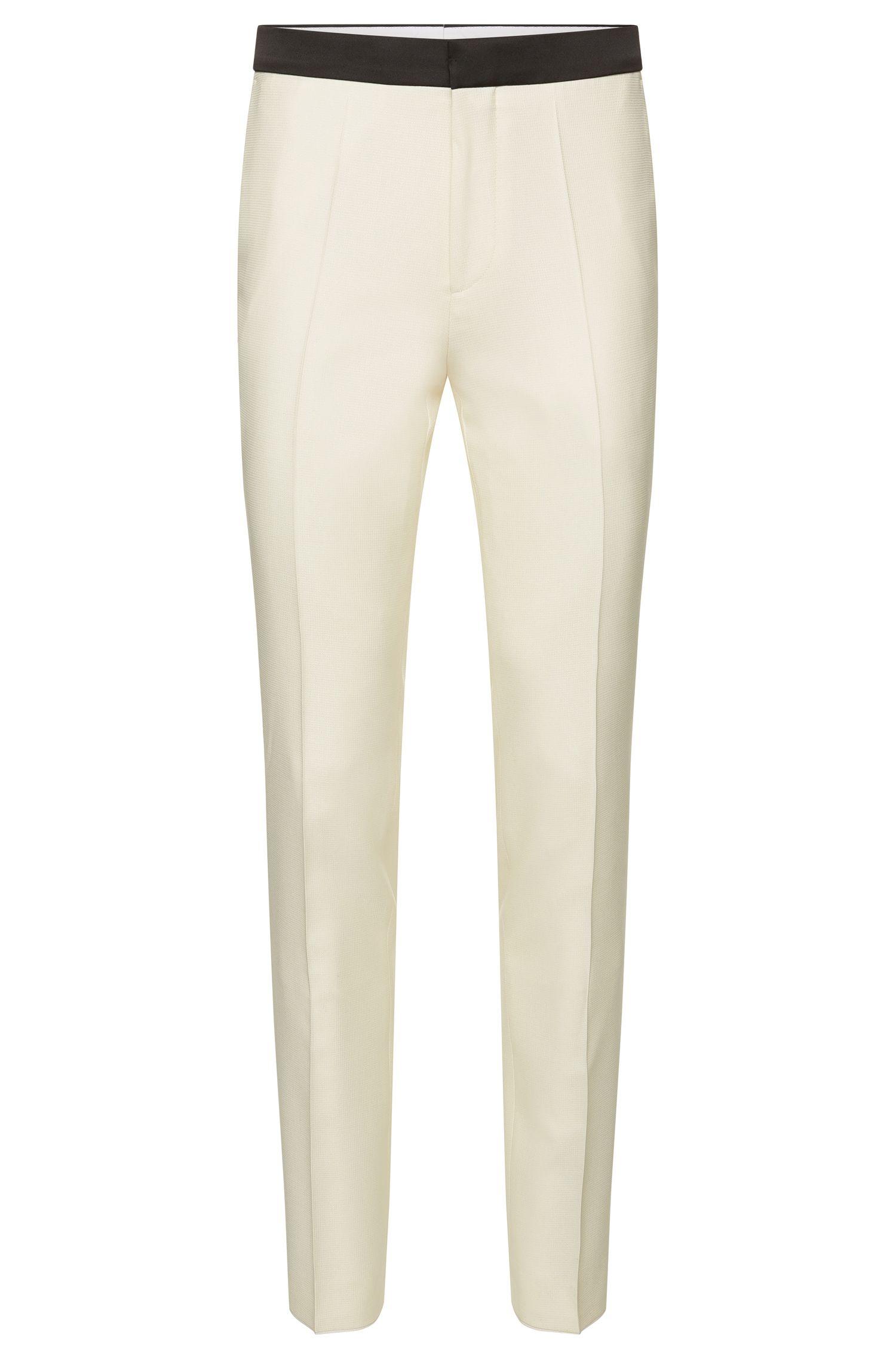 Pantaloni da smoking slim fit lavorati in misto lana vergine-seta: 'Heming'