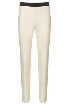 Gestructureerde slim-fit smokingpantalon van een scheerwolmix met zijde: 'Heming', Lichtbeige