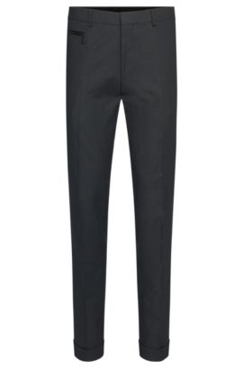 Slim-Fit Hose aus Stretch-Baumwolle mit feinem Muster: 'Hizon', Dunkelgrau