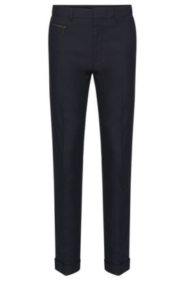 Slim-fit trousers in stretch cotton with a fine pattern: 'Hizon', Dark Blue