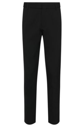 Plain relaxed-fit trousers in stretchy new-wool blend: 'Hewart', Black