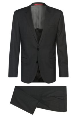 Finely checked slim-fit suit in new wool: 'C-Huge1/C-Genius', Anthracite