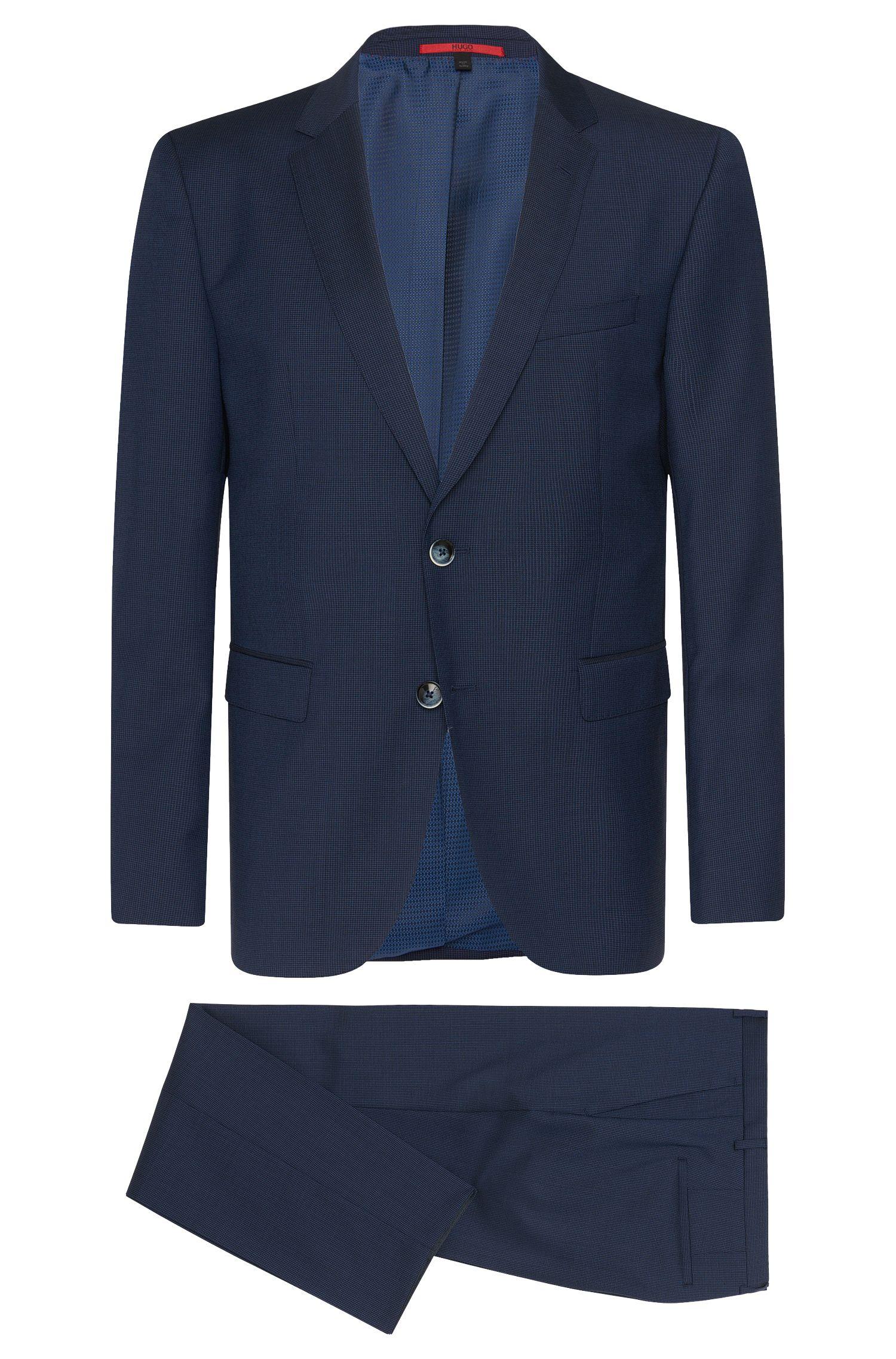 Fein gemusterter Regular-Fit Anzug aus Schurwolle: 'C-Jeys1/C-Shaft1