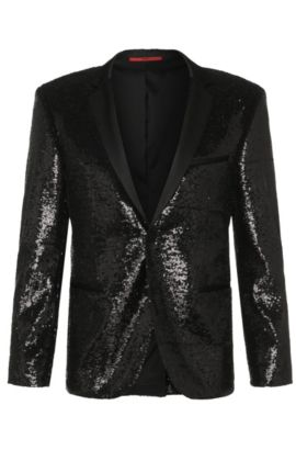 Extra slim-fit jacket in stretch viscose with sequins: 'Adris_Sequins', Black
