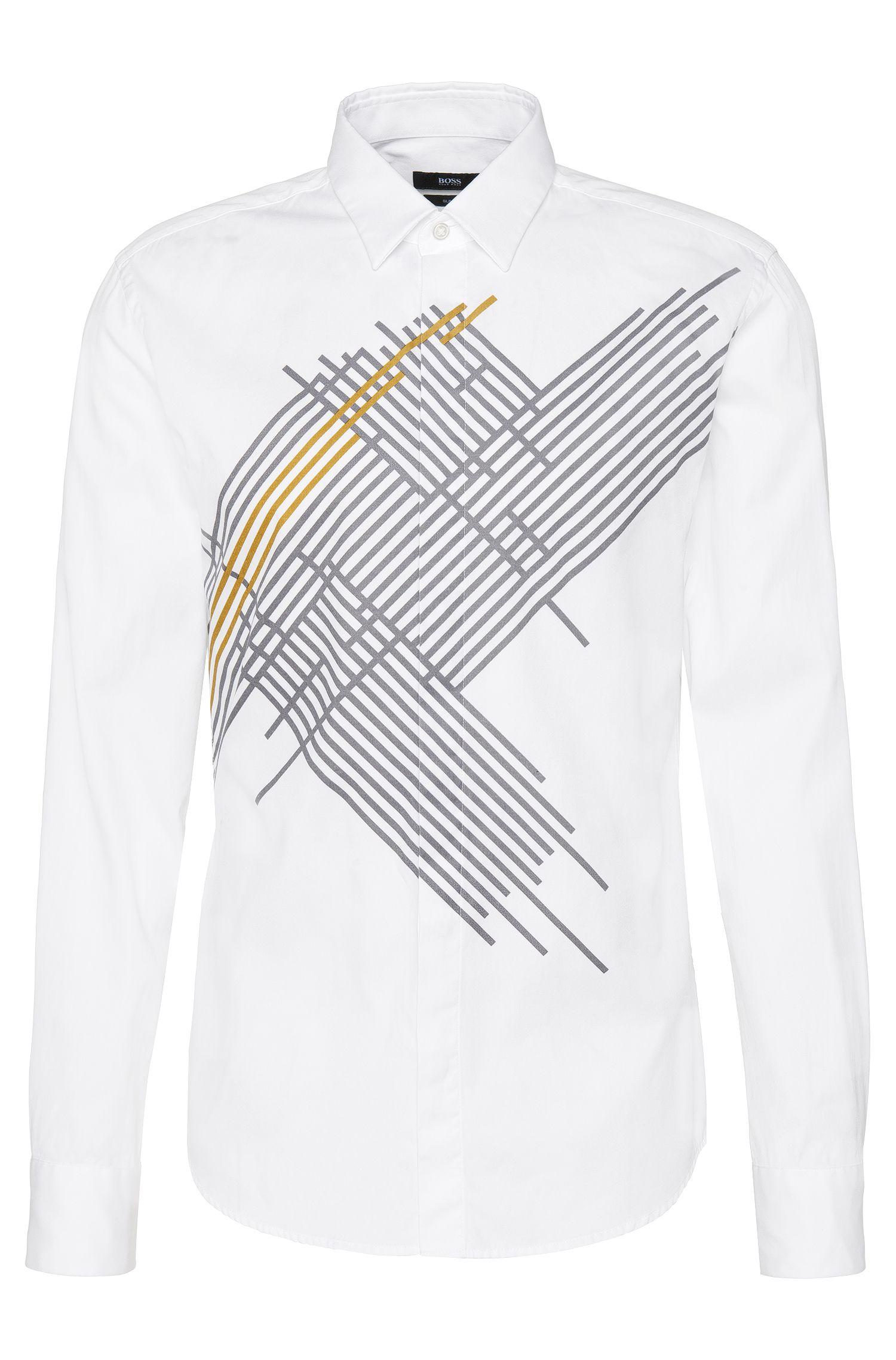 Slim-fit overhemd van katoen met print: 'Reid_H'