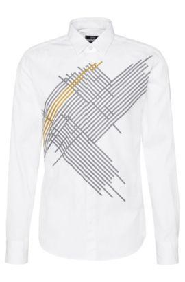 Camicia slim fit in cotone con stampa: 'Reid_H', Bianco