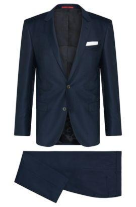 Costume Slim Fit en laine vierge finement structurée: «C-Hutson1/C-Gander», Bleu foncé
