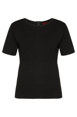 Textured regular-fit t-shirt in stretchy viscose blend: 'Nelina', Black