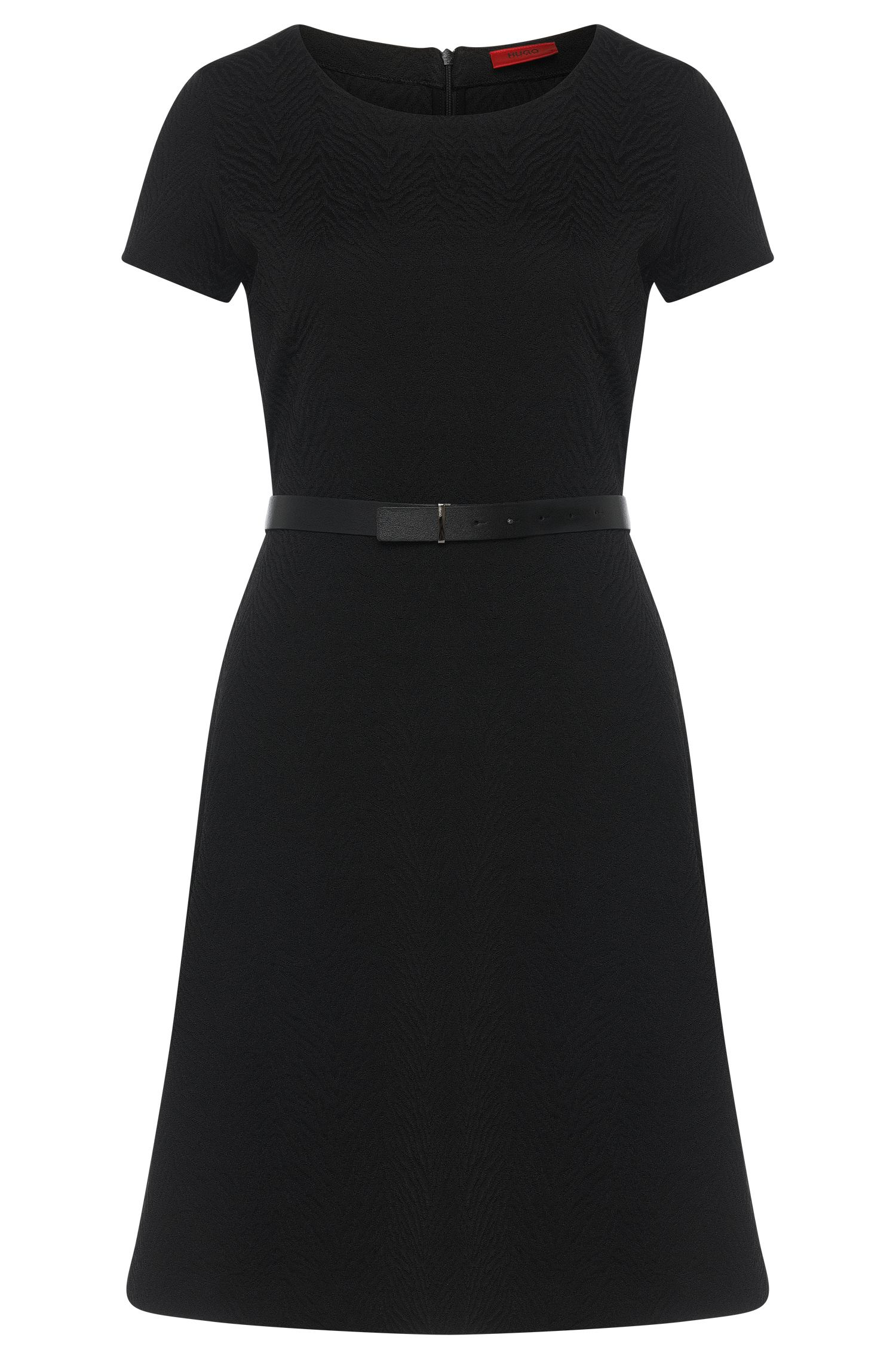 Short-sleeved dress with a crisp fabric texture: 'Damelia'