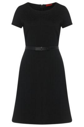 Kurzarm-Kleid mit griffiger Gewebe-Struktur: 'Damelia', Schwarz