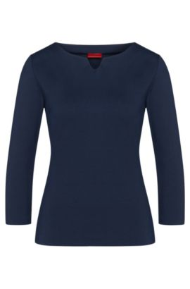 Plain-coloured shirt in stretchy viscose blend: 'Dolana', Dark Blue
