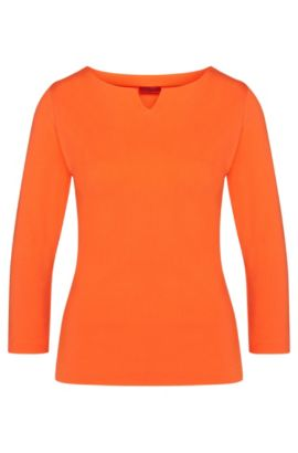 Unifarbenes Shirt aus elastischem Viskose-Mix: 'Dolana', Orange