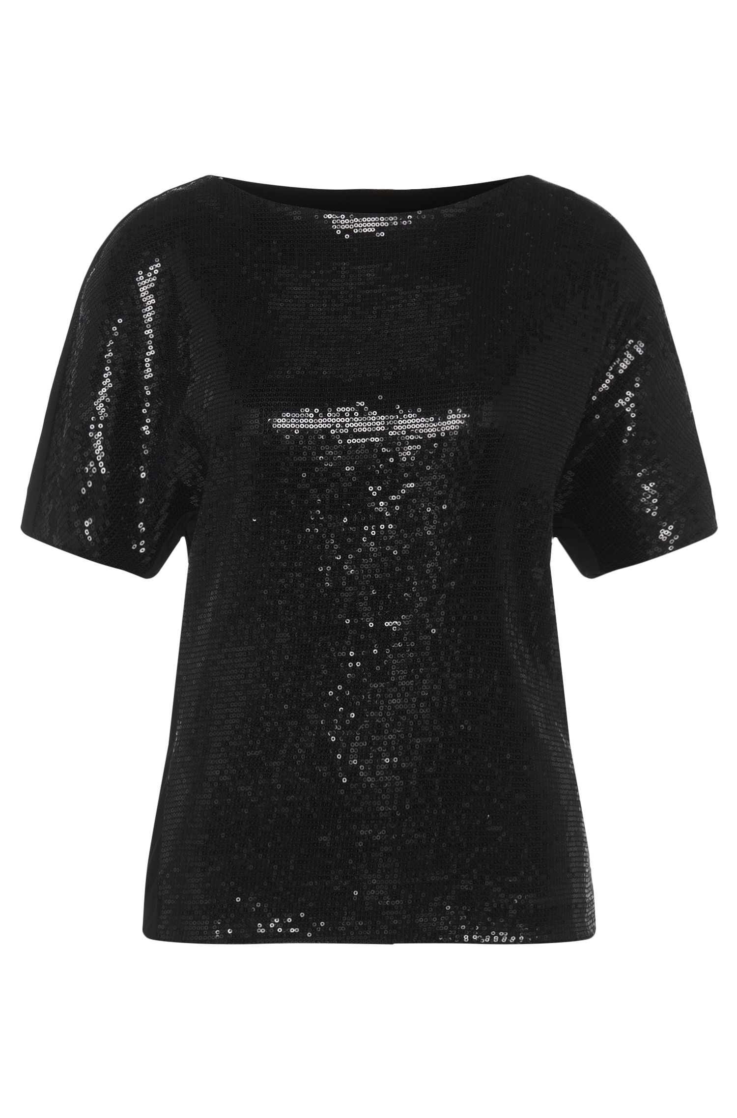 T-shirt in viscosa elasticizzata con inserto in paillettes: 'Nitas'