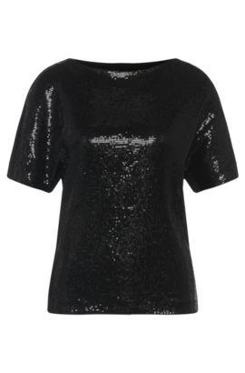 Camiseta de viscosa elástica con ribete de lentejuelas: 'Nitas', Negro