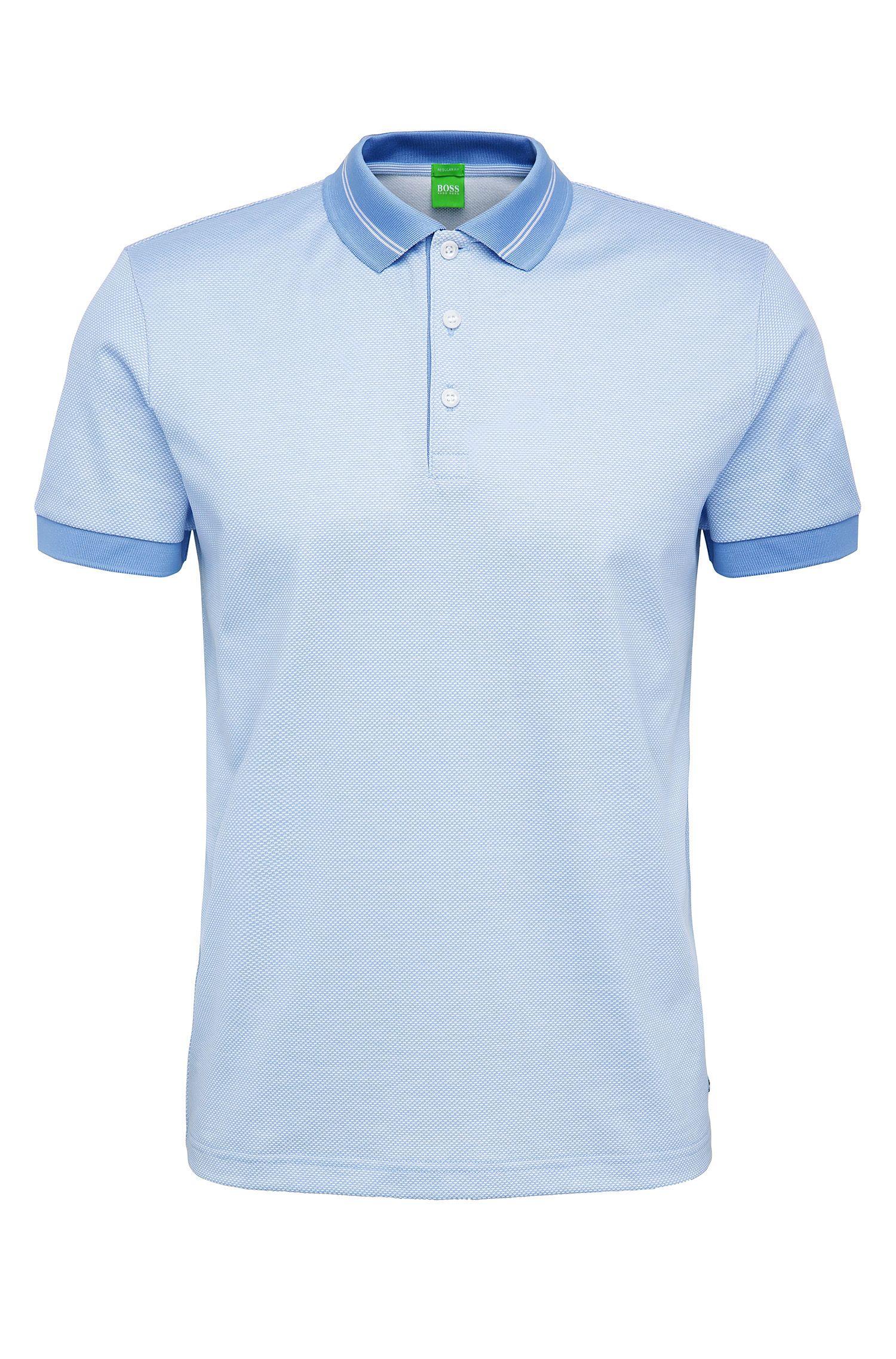 Texturiertes Regular-Fit Poloshirt aus Baumwoll-Mix: ´C-Genova`