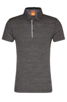 Slim-fit polo shirt in cotton with contrasting details: 'Patcherman 1', Black