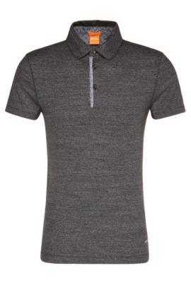 Polo slim fit en algodón con detalles en contraste: 'Patcherman 1', Negro