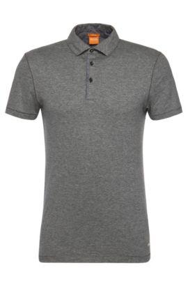 Polo Slim Fit en coton avec détails contrastants: «Patcherman 1», Gris chiné