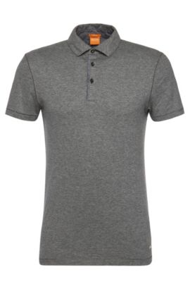 Slim-fit polo shirt in cotton with contrasting details: 'Patcherman 1', Light Grey