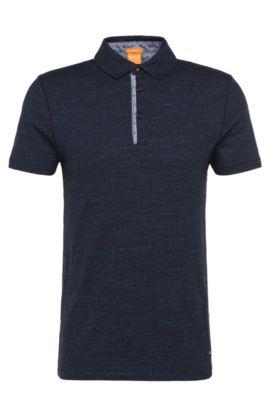 Slim-Fit Polo aus Baumwolle mit Kontrast-Details: ´Patcherman 1`, Dunkelblau