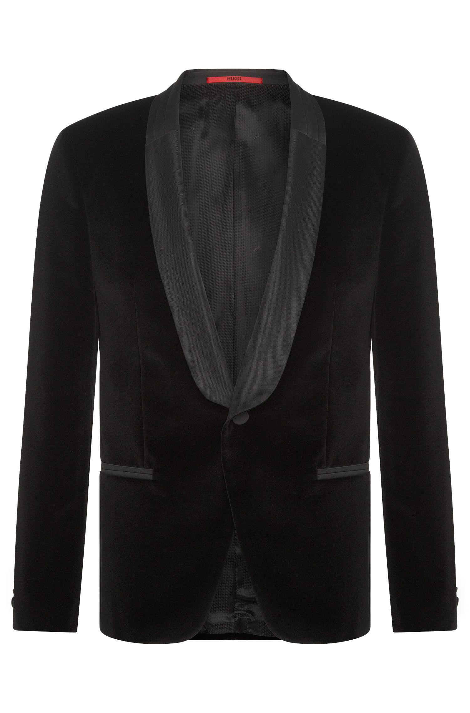 Slim-fit dinner jacket in cotton velvet: 'Arian'