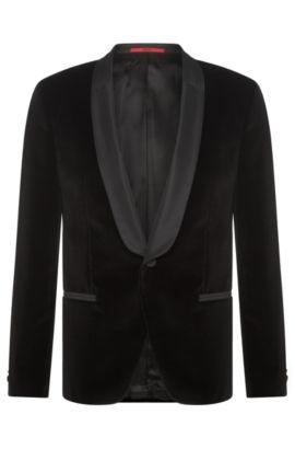 Slim-fit dinner jacket in cotton velvet: 'Arian', Black
