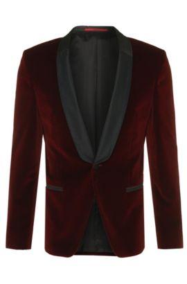 Giacca da smoking slim fit in cotone di qualità vellutata: 'Arian', Rosso scuro