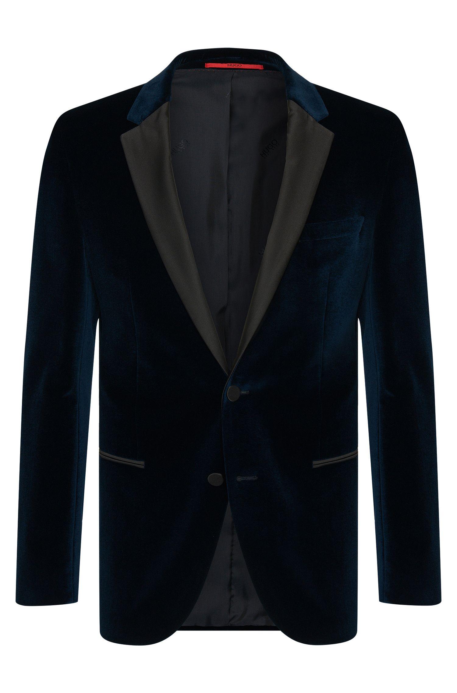 Slim-fit jacket in cotton velvet look: 'C-Harmyn1'
