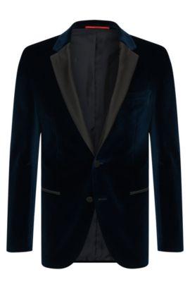 Slim-Fit Sakko aus Baumwolle in Samt-Optik: 'C-Harmyn1', Dunkelblau