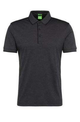 Polo Regular Fit à rayures en coton: «C-Janis», Noir