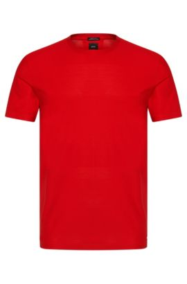 T-shirt Regular Fit Tailored en coton, à la fine structure en filet : « T-Tesar 07 », Rouge
