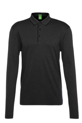 Regular-fit long-sleeved polo shirt in striped and textured cotton: 'C-Prato', Black