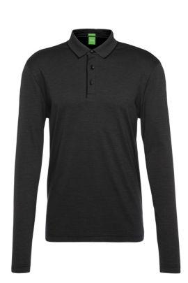 Polo à manches longues Regular Fit en coton structuré à rayures: «C-Prato», Noir