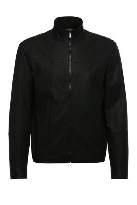 Leather bomber jacket with perforated sections: 'CJalpin', Black