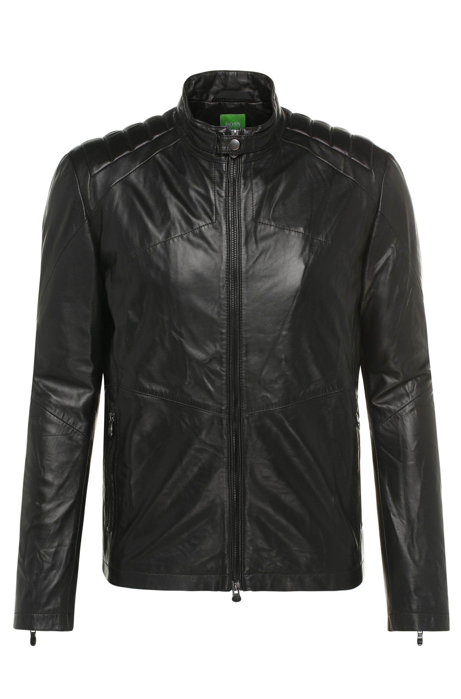 Regular-fit leather jacket with grain: 'CJaikido'